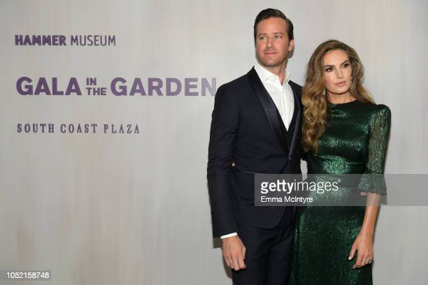 Armie Hammer wearing Ferragamo and Elizabeth Chambers wearing The Vampire's Wife at The Webster attend the Hammer Museum 16th Annual Gala in the...
