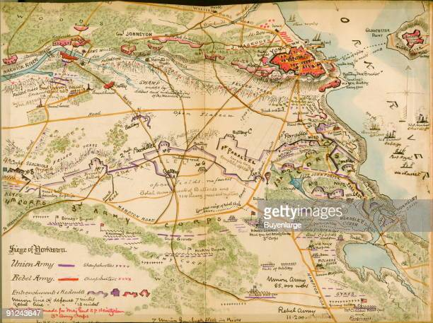 Armies west of Yorktown with the York River to the east as the Siege of Yorktown got underway Hand Drawn Map