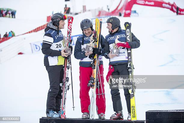 Armin Assinger Martijn Van Koten and Mark Tonkens pose for a picture during the victory ceremony of the KitzCharityTrophy on January 21 2017 in...