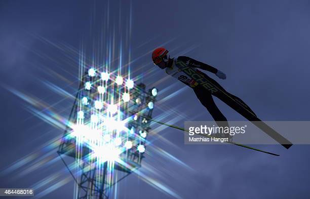 Armin Bauer of Italy competes during the Men's Nordic Combined HS134 Large Hill Ski Jumping during the FIS Nordic World Ski Championships at the...