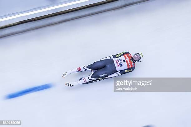 Armin Frauscher of Austria competes in the first heat of the Men's Luge competition during the third day of the FILWorld Championships at...