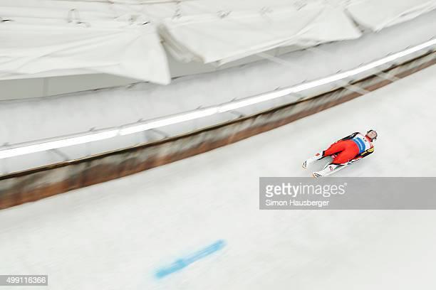 Armin Frauscher of Austria in action during the Viessmann Luge World Cup at Olympiabobbahn Igls on November 29 2015 in Innsbruck Austria