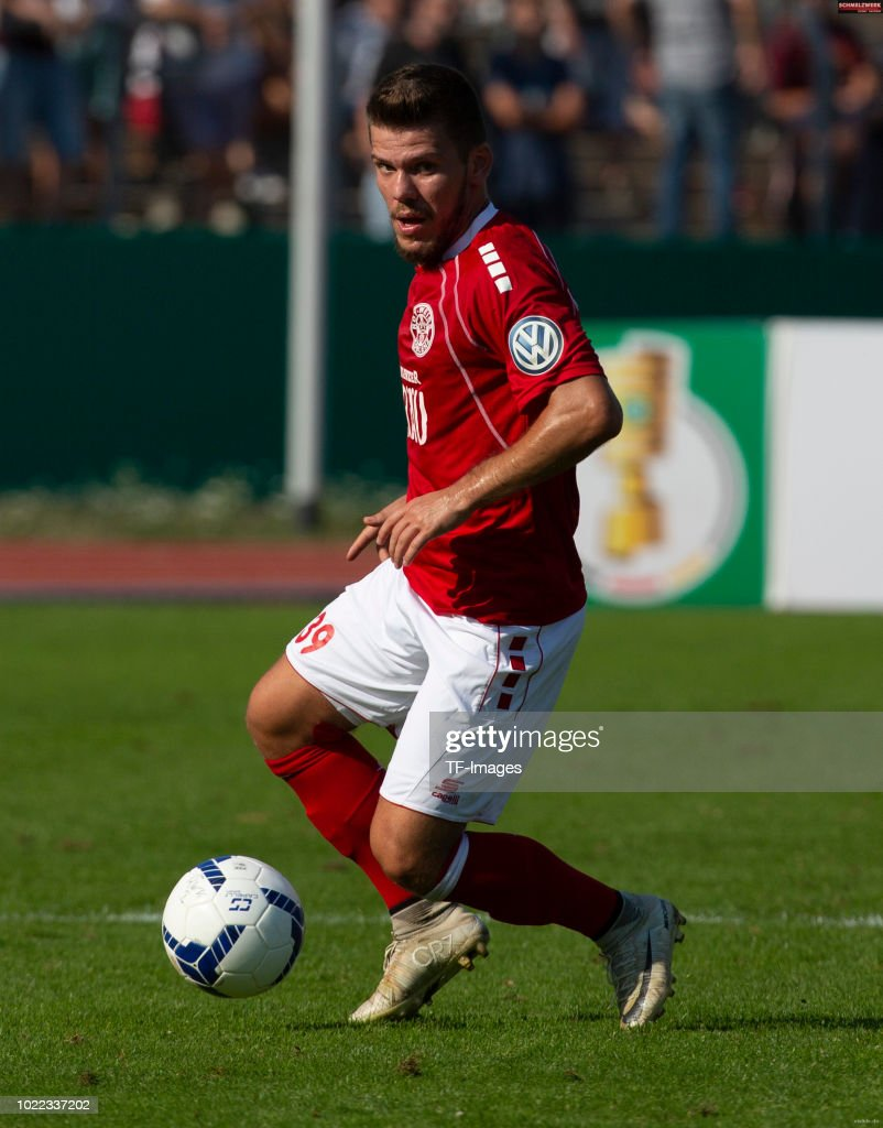 Armin Jusufi of RW Koblenz controls the ball during the DFB Cup first round match between TuS RW Koblenz and Fortuna Duesseldorf at Stadion Oberwerth on August 19, 2018 in Koblenz am Rhein, Germany.