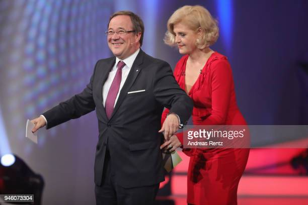 Armin Laschet and host Annette Gerlach on stage during the 54th Grimme Award on April 13 2018 in Marl Germany