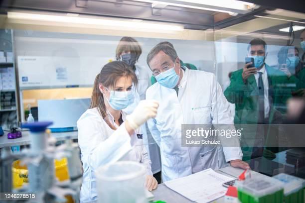 Armin Laschet , governor of the state of North Rhine-Westphalia, and Henriette Reker , mayor of Cologne, visit the Labor Dr. Wisplinghoff medical lab...