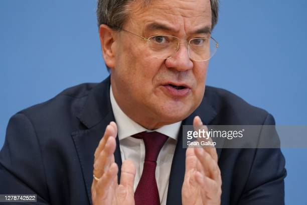 Armin Laschet, Governor of the state of North Rhine-Westphalia, speaks to the media to present measures for reducing bureaucracy and accelerating...