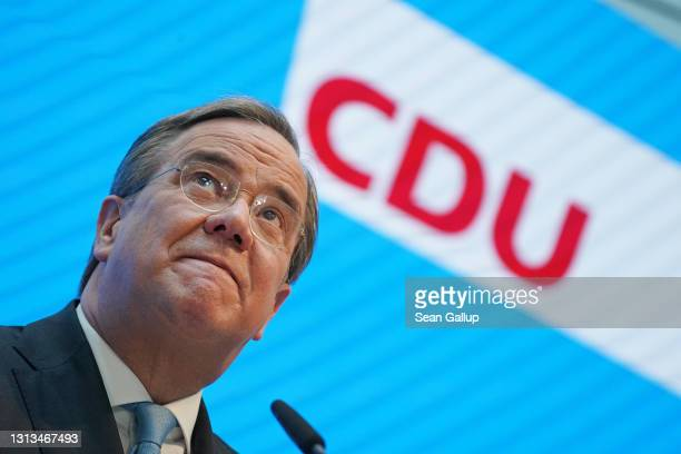 Armin Laschet, head of the German Christian Democrats , speaks to the media the day after the CDU leadership, after a late-night seven-hour meeting,...