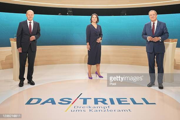Armin Laschet, leader of the German Christian Democrats and CDU/CSU, Olaf Scholz of the Social Democrats and Annalena Baerbock of the Greens Party...