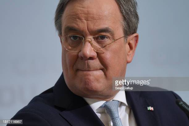 Armin Laschet, leader of the German Christian Democrats , speaks to the media at CDU headquarters shortly after the CDU leadership confirmed its...