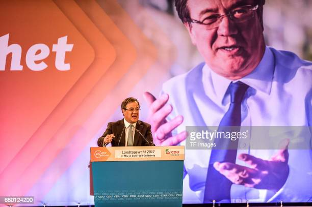 Armin Laschet local German Christian Democrats lead candidate speaks during the CDU campaign rally for state elections in North RhineWestphalia on...