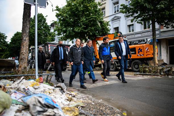 DEU: Scholz And Laschet Visit Flood-Stricken Stolberg