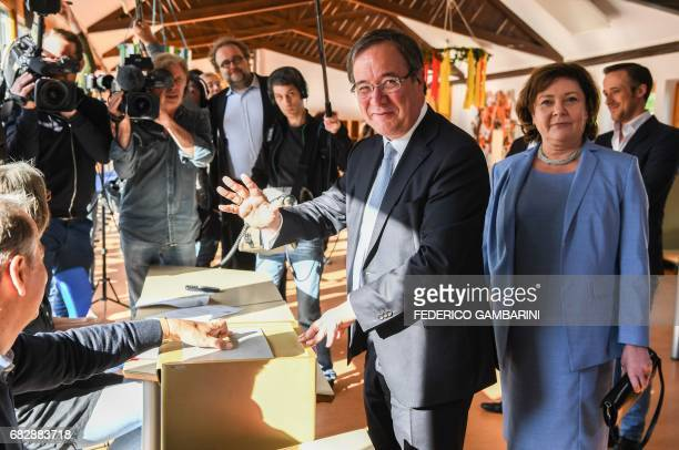 Armin Laschet top candidate of the conservative Christian Democratic Union party for regional elections in North RhineWestphalia casts his ballot at...