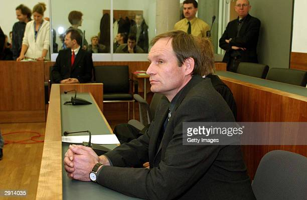 Armin Meiwes a 42yearold computer technician and selfconfessed cannibal is seen at court on the last day of his trial January 30 2004 in the central...