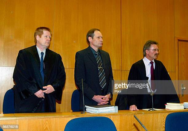 Armin Meiwes and his lawyer Harald Ermel attends his retrial on January 12 2006 at the District Court in Frankfurt Germany Meiwes was convicted two...