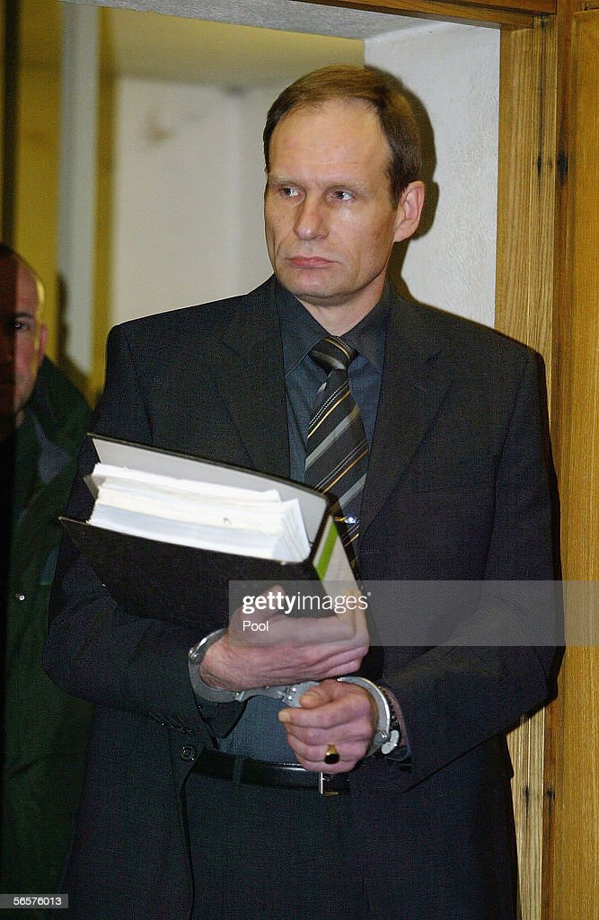 Armin Meiwes in handcuffs attends his retrial on January 12, 2006 at the District Court in Frankfurt, Germany. Meiwes was convicted two years ago of killing and eating an apparently willing victim.