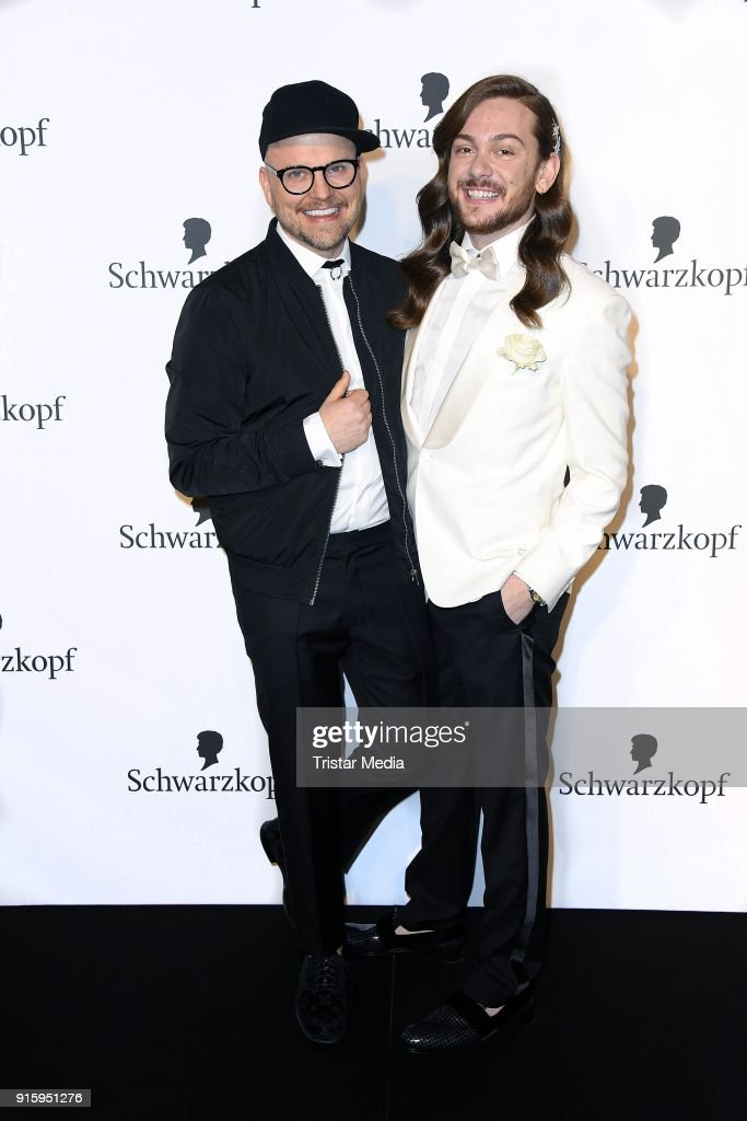 Armin Morbach and Riccardo Simonetti attend the 120th anniversary celebration of Schwarzkopf at U3 subway tunnel Potsdamer Platz on February 8, 2018 in Berlin, Germany.