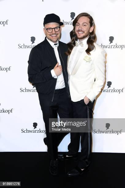 Armin Morbach and Riccardo Simonetti attend the 120th anniversary celebration of Schwarzkopf at U3 subway tunnel Potsdamer Platz on February 8, 2018...