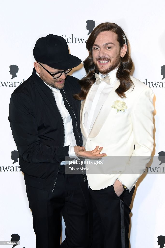 Armin Morbach and Riccardo Simonetti attend the 120th anniversary celebration of Schwarzkopf at U3 subway tunnel Potsdamer Platz on February 8, 2018 in Berlin, Germany.