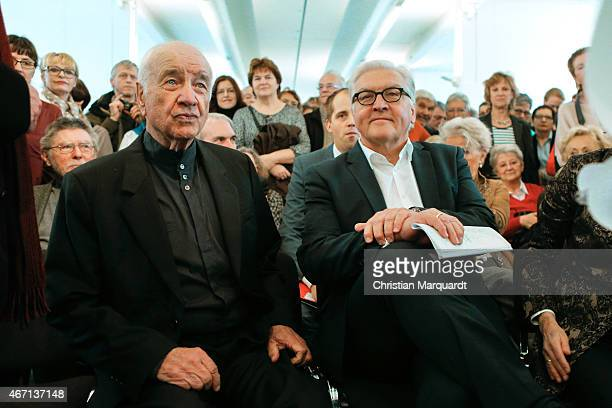 Armin MuellerStahl and German Minister for Foreign Affairs FrankWalter Steinmeier attend the opening of 'Menschenbilder' exhibition preview at...