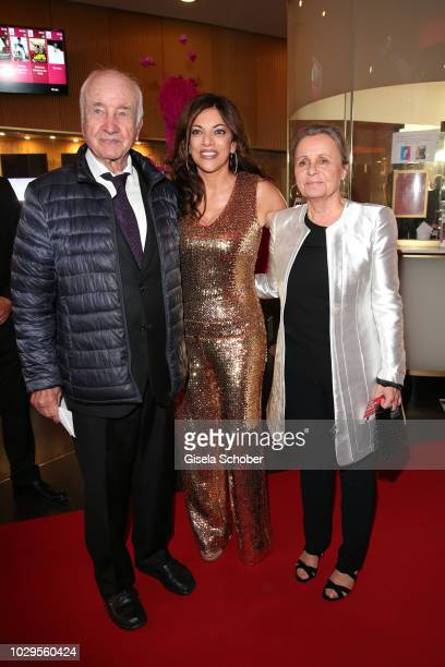 Armin MuellerStahl and his wife Gabriele Scholz and Alice Brauner during the 100th bitrhday celebration gala for Artur Brauner at Zoo Palast on...
