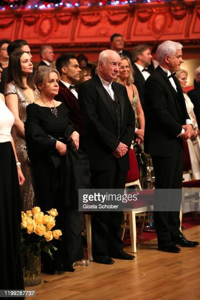 Armin MuellerStahl and his wife Gabriele Scholz and HansJoachim Frey during the 15th Semper Opera Ball 2020 at Semperoper on February 7 2020 in...