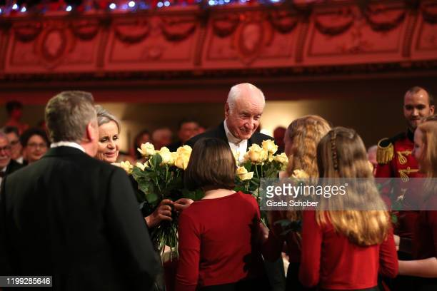 Armin MuellerStahl and his wife Gabriele Scholz gets flowers during the 15th Semper Opera Ball 2020 at Semperoper on February 7 2020 in Dresden...