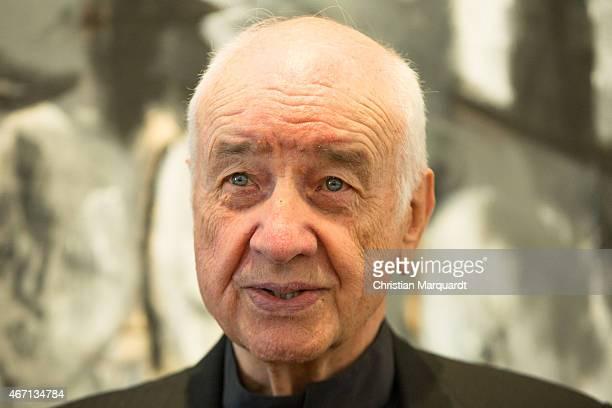 Armin Mueller-Stahl attends the opening of 'Menschenbilder' exhibition preview at Kunsthalle Brennabor on March 21, 2015 in Brandenburg an der Havel,...