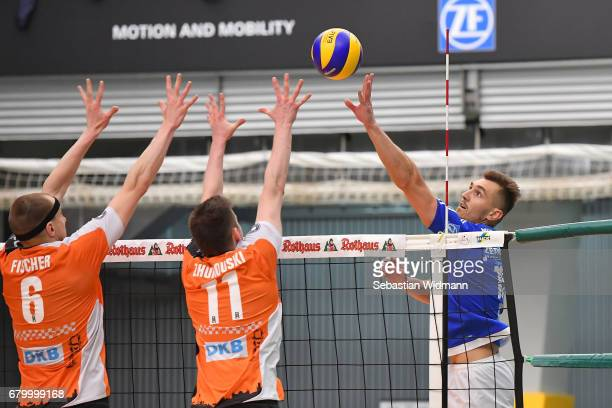 Armin Mustedanovic of VFB Friedrichshafen in action during the Volleyball final playoff match 3 between VFB Friedrichshafen and Berlin Recycling...