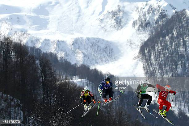 Armin Niederer of Switzeland leads during the Freestyle Skiing Men's Ski Cross 1/8 Finals on day 13 of the 2014 Sochi Winter Olympic at Rosa Khutor...