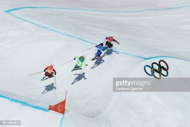 Armin Niederer of Switzerland Aenaud Bovolenta of France Filip Flisar of Slovenia and Dave Duncan of Canada compete in the Freestyle Skiing Men's Ski...