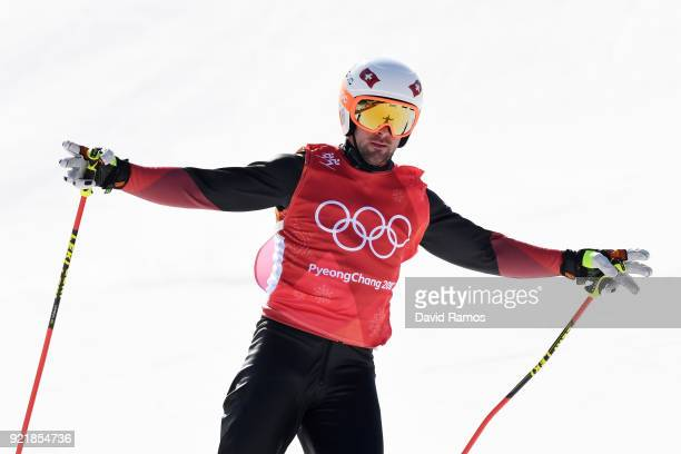 Armin Niederer of Switzerland celebrates winning in the Freestyle Skiing Men's Ski Cross Small Final on day 12 of the PyeongChang 2018 Winter Olympic...