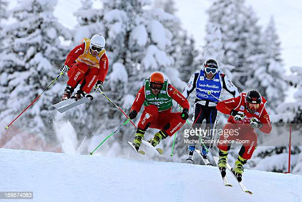 Armin Niederer of Switzerland Conradign Netzer of Switzerland and Jean Frederic Chapuis of France during the FIS Freestyle Ski World Cup Men's and...