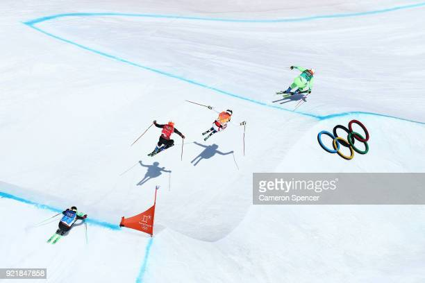 Armin Niederer of Switzerland Filip Flisar of Slovenia Thomas Zangerl of Austria and Jonas Lenherr of Switzerland compete in the Freestyle Skiing...