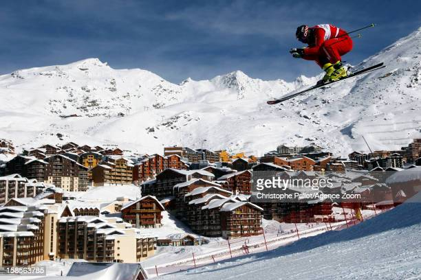 Armin Niederer of Switzerland takes 1st place competes during the FIS Freestyle Ski World Cup Men's and Women's Ski Cross on December 19 2012 in Val...
