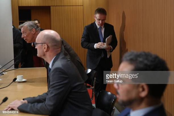 Armin Paulus Hampel Frank Pasemann Christian Bex and Harald Weyel all of the rightwing Alternative for Germany political party arrive to speak to the...