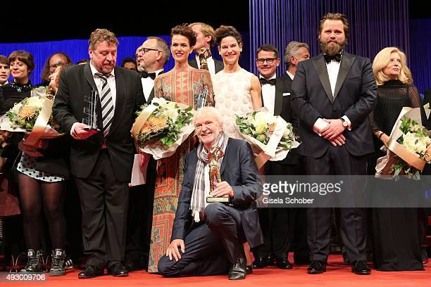 Armin Rohde Melika Foroutan Bibiana Beglau Michael Gwisdeck and Antoine Monot jr during the Hessian Film and Cinema Award 2015 at Alte Oper on...