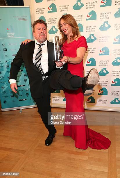 Armin Rohde with award and Aglaia Szyszkowitz during the Hessian Film and Cinema Award 2015 at Alte Oper on October 16 2015 in Frankfurt am Main...