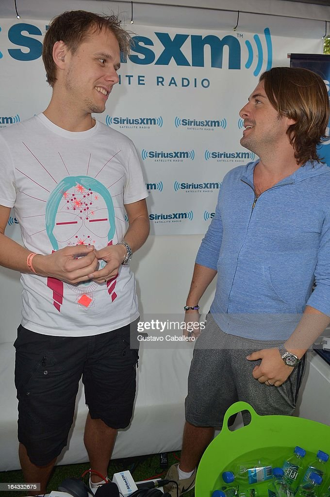 Armin van Buuren and Axwell visit the SiriusXM Music Lounge at W Hotel on March 22, 2013 in Miami, Florida.