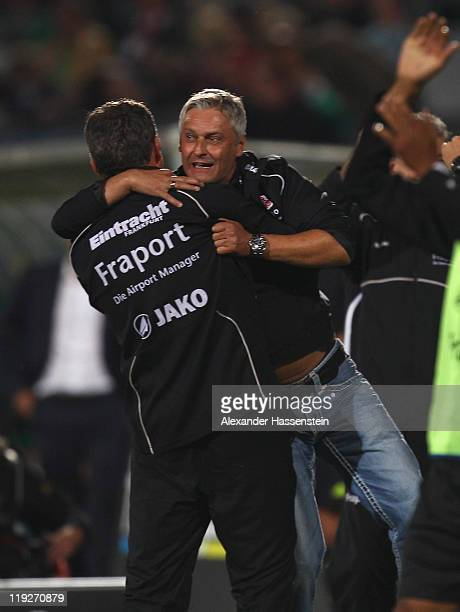 Armin Veh, head coach of Frankfurt celebrates the winning goal for his team during the Second Bundesliga match between SpVgg Greuther Fuerth and...