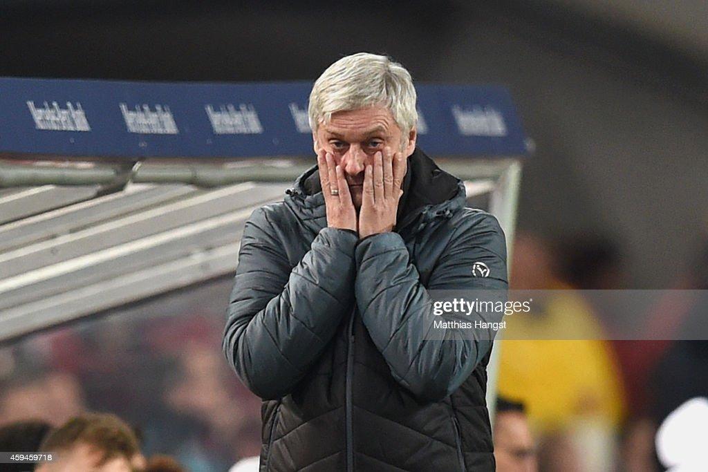 Armin Veh, head coach of Stuttgart reacts during the Bundesliga match between VfB Stuttgart and FC Augsburg at Mercedes-Benz Arena on November 23, 2014 in Stuttgart, Germany.