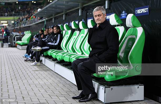 Armin Veh, head coach of Wolfsburg looks on prior to the UEFA Champions League Group B first leg match between VfL Wolfsburg and Besiktas at the...