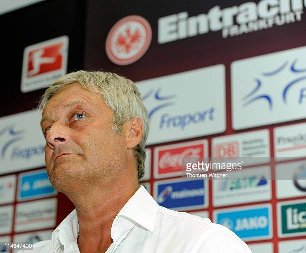 Armin Veh looks on during his presentation as new head coach of Eintracht Frankfurt at Commerzbank Arena on May 31, 2011 in Frankfurt am Main,...