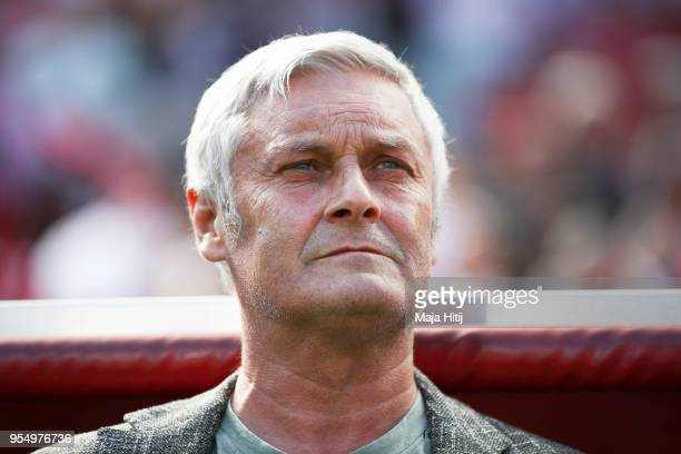 Armin Veh of 1.FC Koeln stands prior the Bundesliga match between 1. FC Koeln and FC Bayern Muenchen at RheinEnergieStadion on May 5, 2018 in...