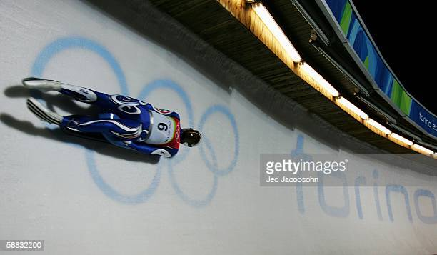 Armin Zoeggeler of Italy competes in his final Gold Medal winning run in the Mens Luge Single Final on Day 2 of the 2006 Turin Winter Olympic Games...