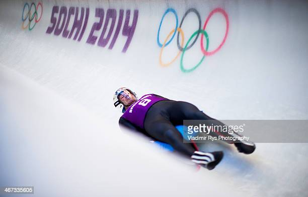 Armin Zoeggeler of Italy takes part at the Luge Men's Singles Training session ahead of the Sochi 2014 Winter Olympics at the Sanki Sliding Center on...