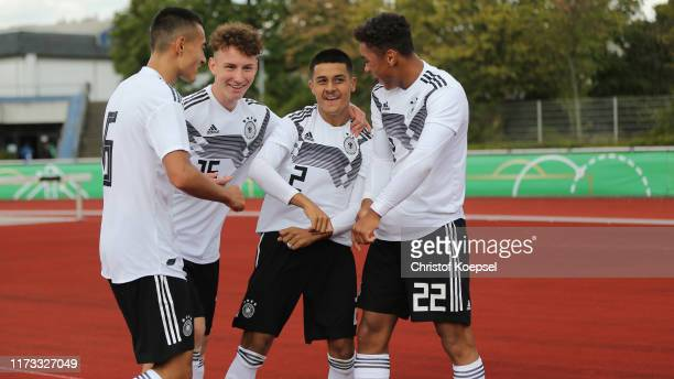 Armindo Sieb of Germany celebrates the sixth goal with Jens Castrop , Elias Kurt and Lion Semic (3rd L9 during the Four Nations Tournament match...