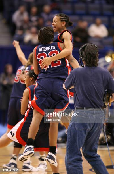 Armintie Price celebrates with Tasi Worsham as the Rebels knock off the defending national champion Maryland Terps during the second round of the...
