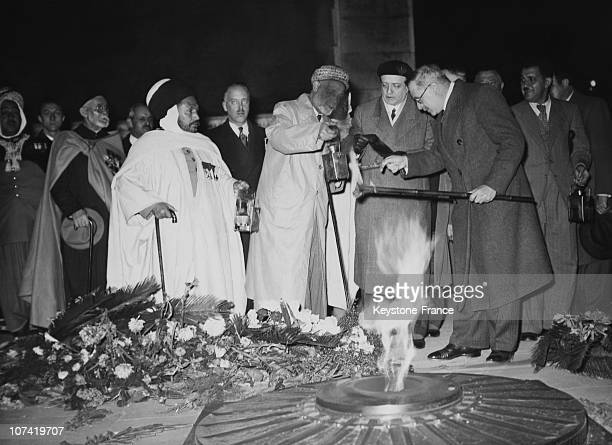 Armistice Day Celebration North African Service Men Lighting Their Torches In Paris