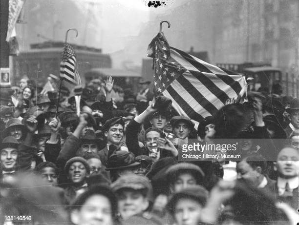 Armistice Day peace celebration crowd of mostly boys on a street looking up toward the camera Chicago Illinois November 1 1918 From the Chicago Daily...