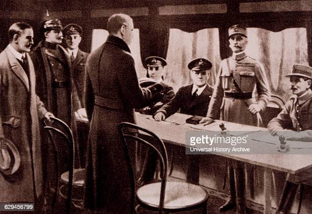 Armistice Signing Ceremony Between Germany and Allied Nations Compiegne France November 11 1918